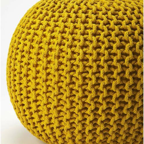 A beautiful room accent, this woven pouffe is ideal for extra seating where space is limited. Resembling a pincushion, it features a 100% wool felt outer shell and high density thermocol beans inside for comfort and durability.