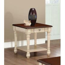 Transitional Dark Brown/antique White End Table