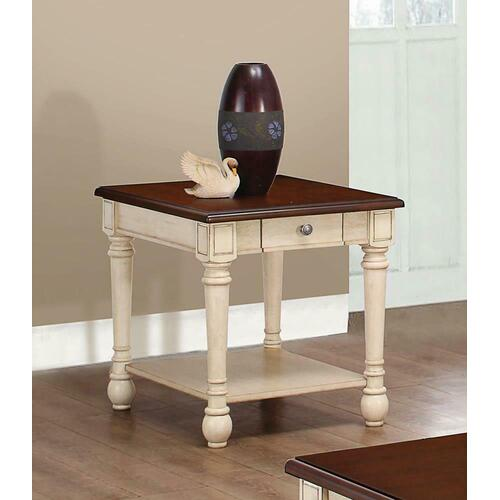 Product Image - Transitional Dark Brown/antique White End Table