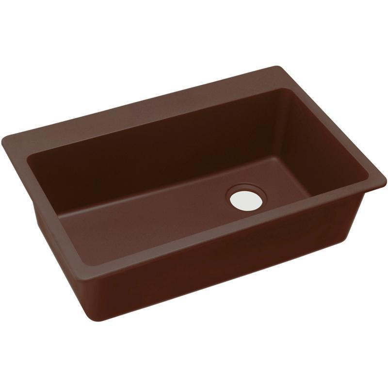 "Elkay Quartz Classic 33"" x 22"" x 9-1/2"", Single Bowl Drop-in Sink, Pecan"