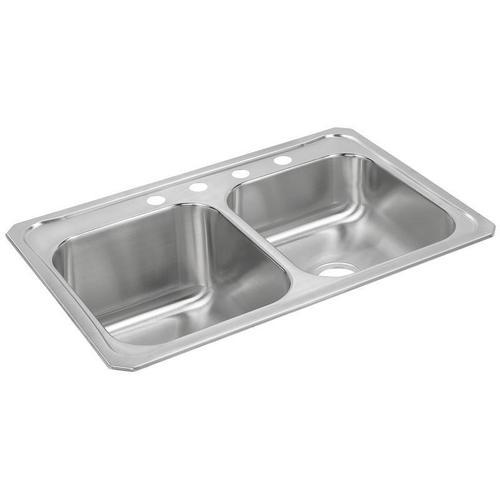 "Elkay Celebrity Stainless Steel 33"" x 22"" x 10-1/4"", Equal Double Bowl Drop-in Sink"