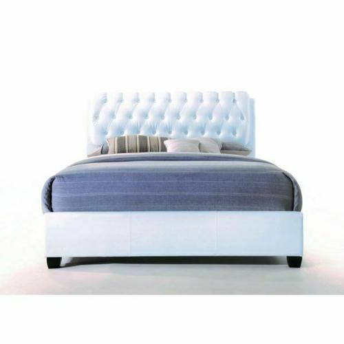 ACME Ireland II Queen Bed (Button Tufted) - 25350Q - White PU