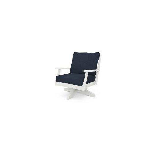 Braxton Deep Seating Swivel Chair in Vintage White / Marine Indigo