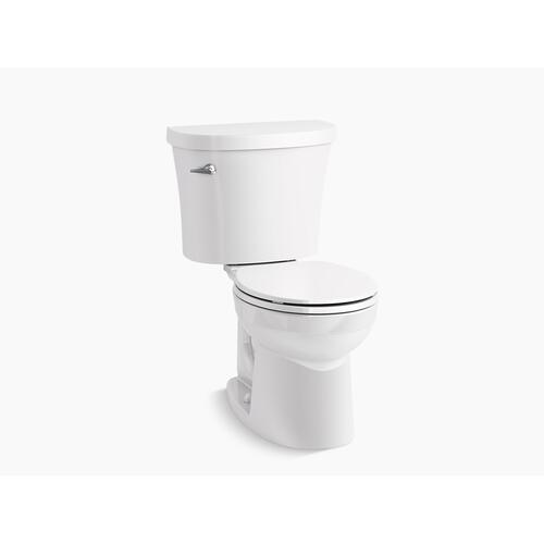 White Two-piece Round-front 1.28 Gpf Toilet With Tank Cover Locks