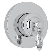 Polished Chrome Italian Bath 4-Port, 3-Way Diverter Trim with Crystal Lever