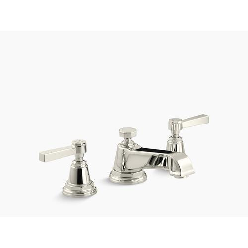 Vibrant Polished Nickel Widespread Bathroom Sink Faucet With Lever Handles