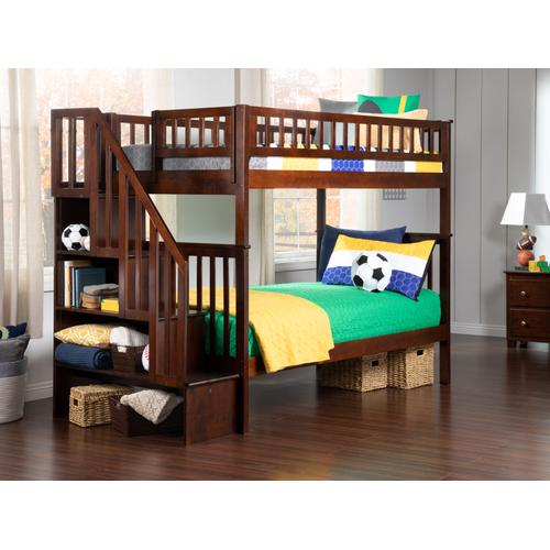 Atlantic Furniture - Woodland Staircase Bunk Bed Twin over Twin in Walnut