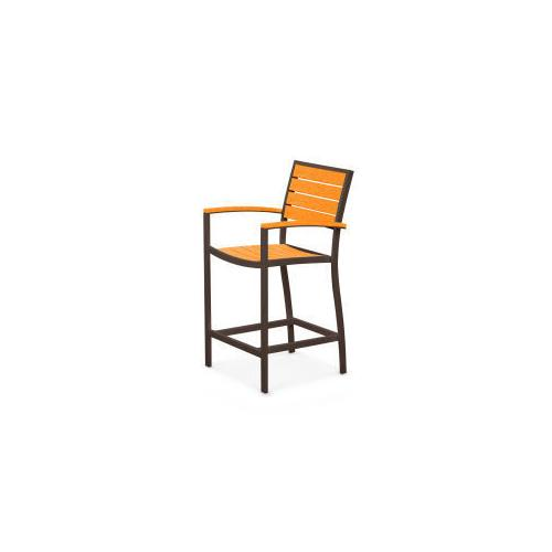 Polywood Furnishings - Eurou2122 Counter Arm Chair in Textured Bronze / Tangerine
