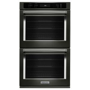 """KitchenAid27"""" Double Wall Oven with Even-Heat™ True Convection - Black Stainless Steel with PrintShield™ Finish"""