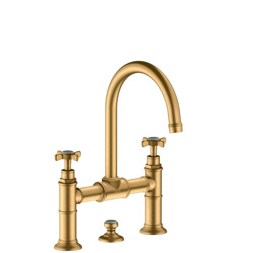 Brushed Brass 2-handle basin mixer 220 with cross handles and pop-up waste set