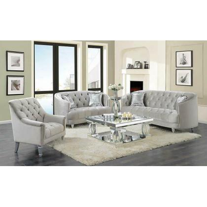 See Details - Avonlea Traditional Grey and Chrome Sofa