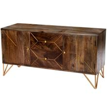 See Details - The minimalist design meets intricate patterned wood adorned by brass inlays are reflective in this entertainment console. The soft wood tones will fit most anywhere in your home; while adding storage opprtunities for all your tv or entertaining needs. The simplistic hairpin bent legs add the bit of detail to draw your attentions upon adorned in gold metal finish. Whether placing family treasures or family favorites upon this console, it will be eye catching for all to see. Paired with the coordintaing accent chest will offer years of enjoyment.