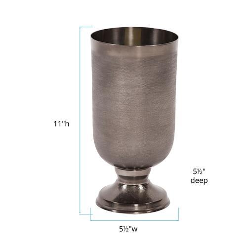 Howard Elliott - Textured Smoke Black Metal Chalice Vase, Small