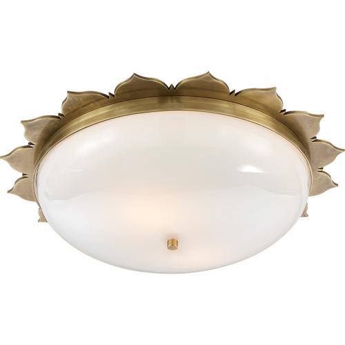 Alexa Hampton Rachel 2 Light 18 inch Natural Brass Flush Mount Ceiling Light