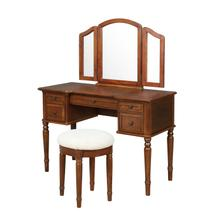 Warm Cherry Vanity, Mirror & Bench
