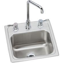 "See Details - Elkay Lustertone Classic Stainless Steel 15"" x 15"" x 7-1/8"", Single Bowl Drop-in Bar Sink + Faucet Kit"