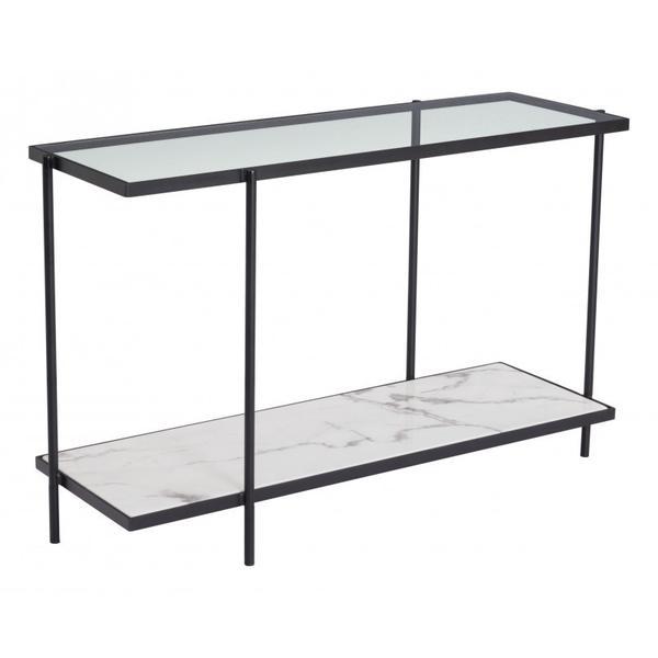 Winslett Console Table Clear White & Matte Black