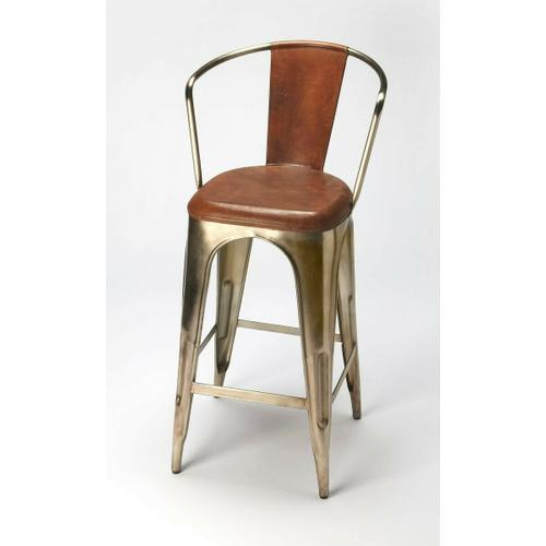 This iron and leather barstool gives your space a refined and polished look like no other. Sporting a unique look, this bar stool easily blends in to modern and contemporary home decors. The dark metal frame of this Bar Stool is in sync with the rich brown colored seat. The seat keeps you relaxed and comfortable, your back receives excellent support thanks to the back rest, and the footrest allows you to relax your feet while sitting.