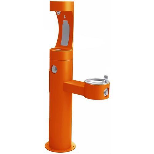 Elkay - Elkay Outdoor ezH2O Bottle Filling Station Bi-Level Pedestal, Non-Filtered Non-Refrigerated Freeze Resistant Orange