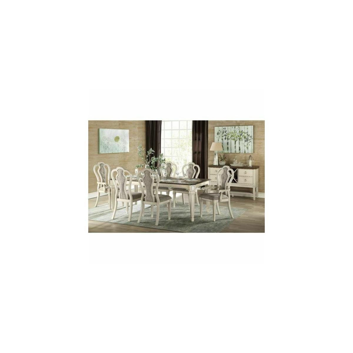 ACME Kayley Dining Table - 77135 - Antique White & Dark Oak