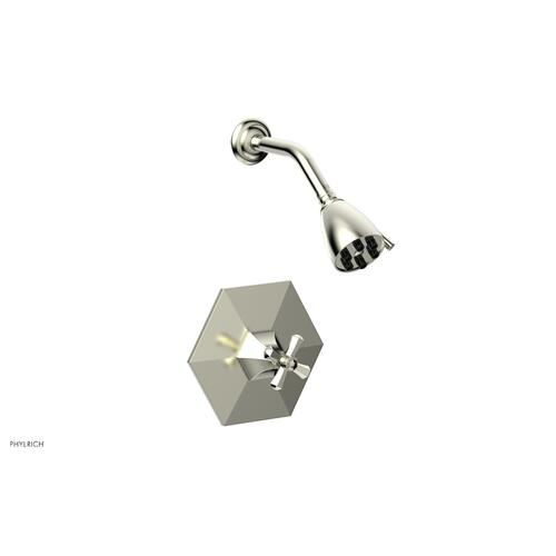 Phylrich - LE VERRE & LA CROSSE Pressure Balance Shower Set - Cross Handle PB3171 - Satin Nickel