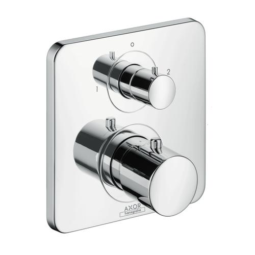 Brushed Gold Optic Thermostat for concealed installation with shut-off/ diverter valve