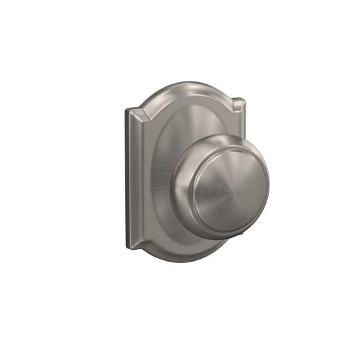 Custom Andover Non-Turning Knob with Camelot Trim - Satin Nickel