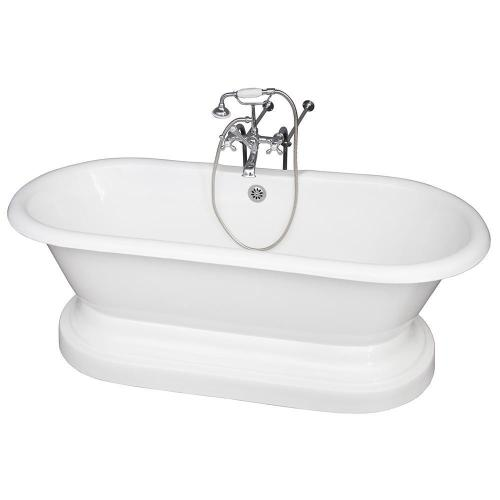 "Columbus 61"" Cast Iron Double Roll Top Tub Kit - Polished Chrome Accessories"