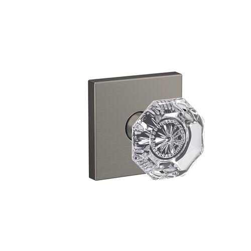 Custom Alexandria Glass Knob with Collins Trim Hall-Closet and Bed-Bath Lock - Satin Nickel