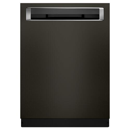 KitchenAid - 46 DBA Dishwasher with Third Level Rack and PrintShield™ Finish, Pocket Handle Black Stainless Steel with PrintShield™ Finish