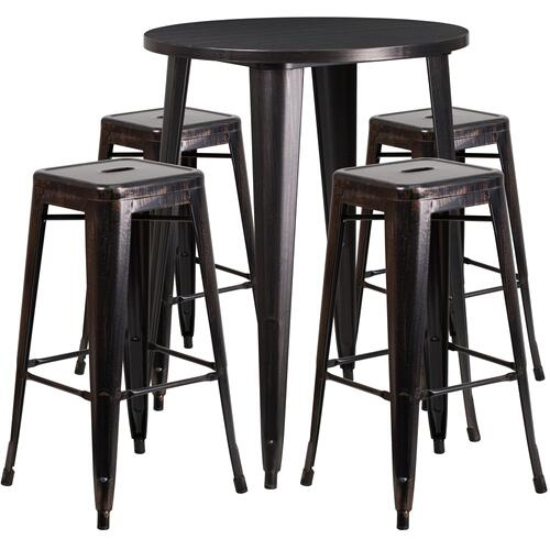 30'' Round Black-Antique Gold Metal Indoor-Outdoor Bar Table Set with 4 Square Seat Backless Stools