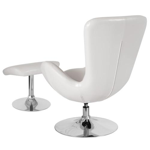White Leather Side Reception Chair with Ottoman
