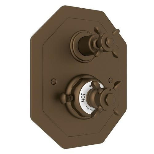 English Bronze Perrin & Rowe Edwardian Octagonal Concealed Thermostatic Trim With Volume Control with Edwardian Cross Handle