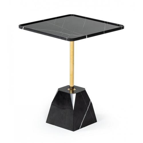 VIG Furniture - Modrest Uintah - Glam Black Marble and Brass End Table