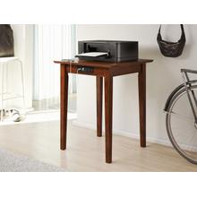 Shaker Printer Stand with Charging Station Walnut