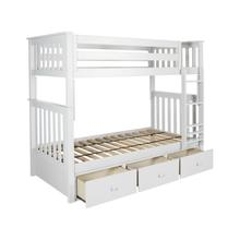 See Details - Twin/Twin Bunk + 3 Drawer Storage White
