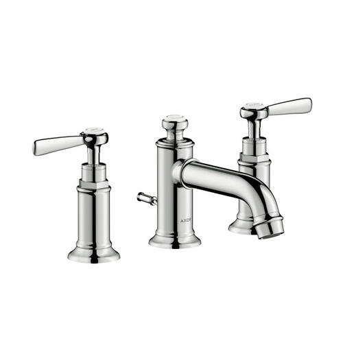 Polished Nickel 3-hole basin mixer 30 with lever handles and pop-up waste set