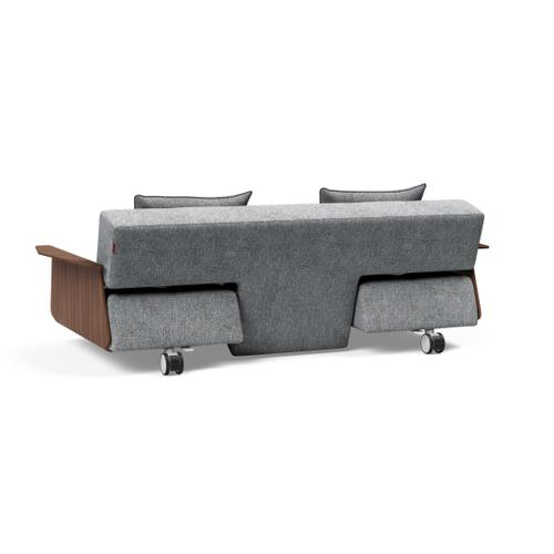 "LONG HORN EXCESS SOFA SEAT/BACK 55""X79""/LONG HORN LEGS WITH WHEELS, STEEL/DELUXE CUSHION 22""X24"" (1 PC)/LONG HORN WOOD ARMS, WALNUT"