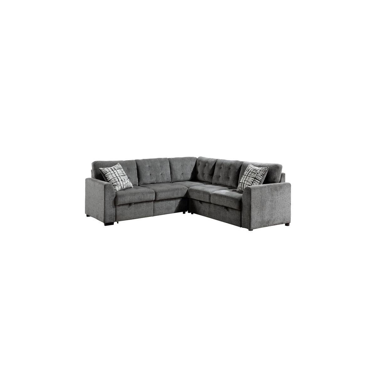 3-Piece Sectional with Pull-out Bed and Pull-out Ottoman