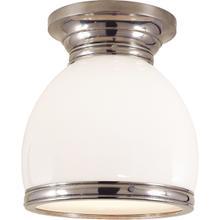 E. F. Chapman Edwardian 1 Light 10 inch Antique Nickel Flush Mount Ceiling Light in White Glass, Open Bottom