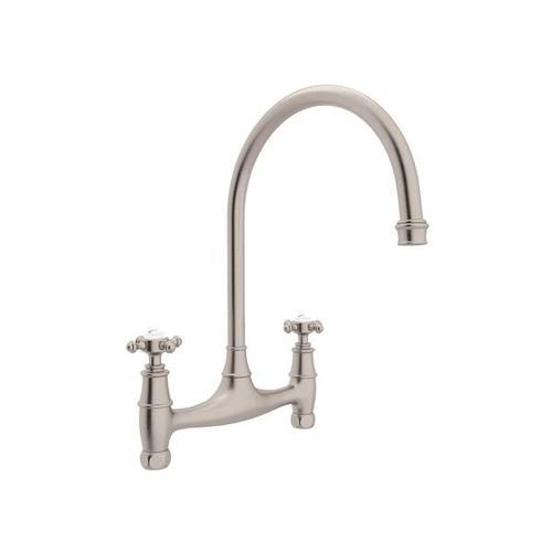 Georgian Era Bridge Kitchen Faucet - Satin Nickel with Cross Handle