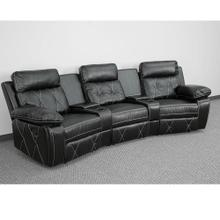 3-Seat Reclining Black Leather Theater Seating Unit with Curved Cup Holders