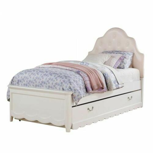 ACME Cecilie Twin Bed - 30300T - Light Pink PU & White