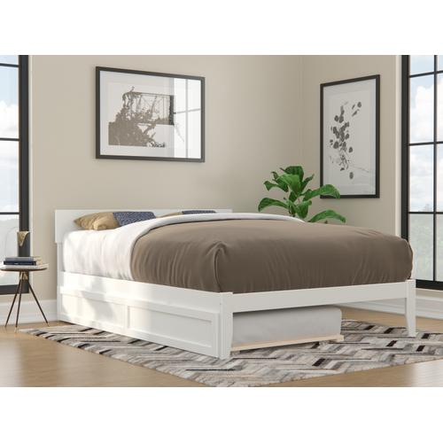 Boston Queen Bed with Twin Extra Long Trundle in White
