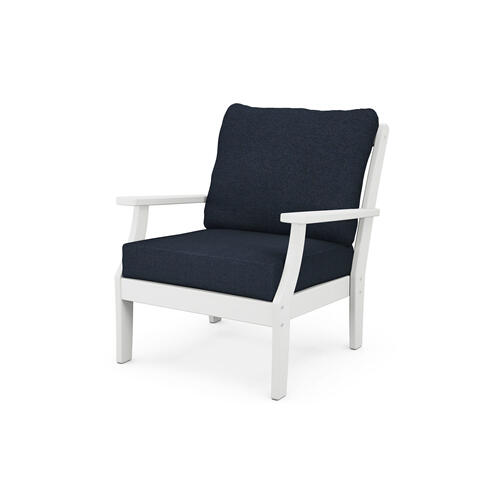 White & Marine Indigo Braxton Deep Seating Chair