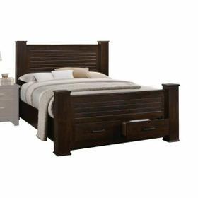 ACME Panang Queen Bed w/Storage - 23370Q - Mahogany