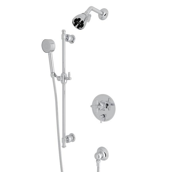 Polished Chrome Zephyr Pressure Balance Shower Package with Cross Handle Zephyr Series Only