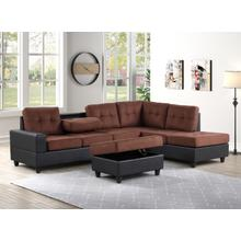 See Details - Albert Reversible Sectional with Drop Down Table and Storage Ottoman, Brown & Black