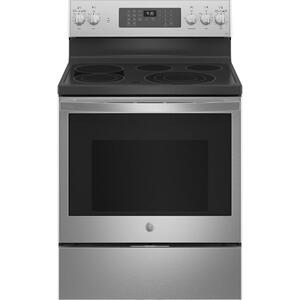 "GE Profile™ 30"" Smart Free-Standing Electric Convection Fingerprint Resistant Range with No Preheat Air Fry Product Image"