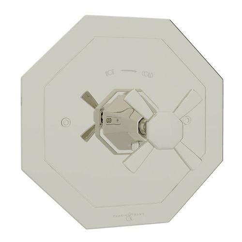Deco Thermostatic Trim Plate without Volume Control - Polished Nickel with Cross Handle